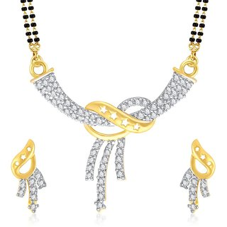 VK Jewels Three Lines Gold And Rhodium Plated Mangalsutra  pendant set with Earrings-MP1071G [VKMP1071G]