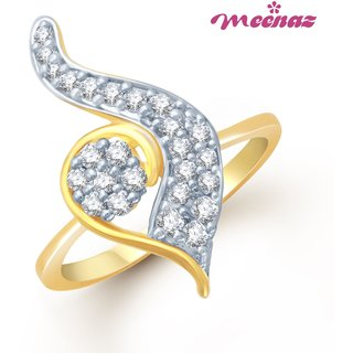 MEENAZ GLEAMING GOLD AND RHODIUM PLATED CZ  RING FR101