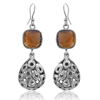 Spargz Brown Color Synthetics Stone Rhodium Plating Dangle  Drop Hook Earrings For Women AIER 959