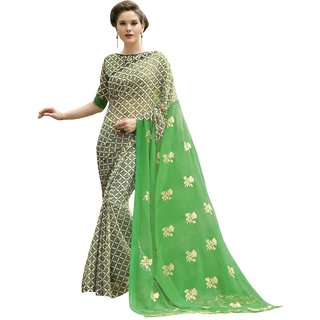 Aagman Trendy Green Colored Printed Chiffon Casual Wear Saree