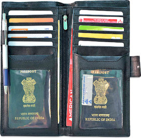 arpera genuine leather passport holder for 2 passports Black C11568-1