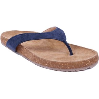 Blue Colour Womens Leather Flip Flops - SWANSIND