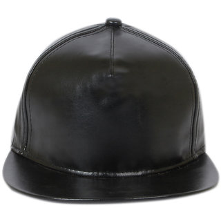 Zeedan black  leather Snapback adjustable  caps Hip hop men women boys girls baseball man woman cap