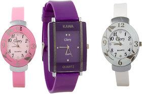 Glory Combo Of Three Watches- Pink And White Glory Blue Rectangular Dial Kawa Watch