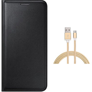 Premium Black Leather Flip Cover and Golden Nylon Micro USB Cable for Vivo Y21
