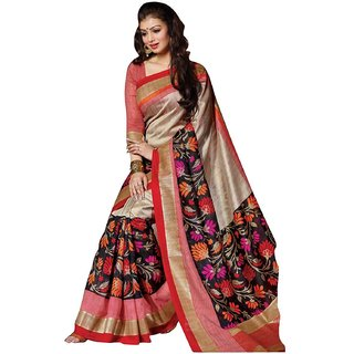 Sarees(Bhagalpuri Silk Brown Saree With Blouse Piece)