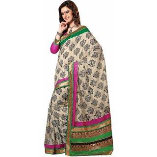 bd10afe1a0f389 Sudarshan Silks Attractive White Bhagalpuri Silk Printed Saree ...