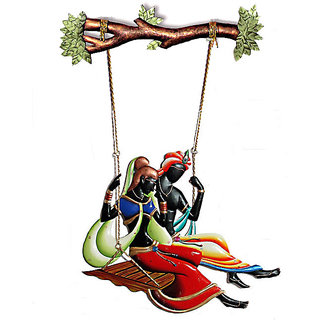 Radha Krishna on a Swing  Wall Hanging
