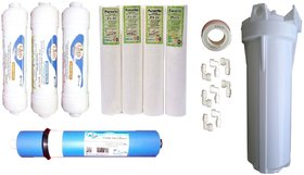 Earth RO systems service kit carbon, sediment, Earth Membrane 100 GPD,  and bow set of kemflo PP Spun filter