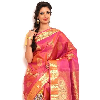 Sudarshan Silks Stunning Pink Silk Kanchipuram Saree