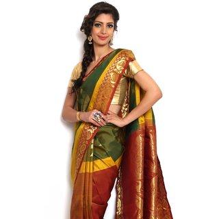 Sudarshan Silks Lovely Multi-Color Silk Kanchipuram Saree
