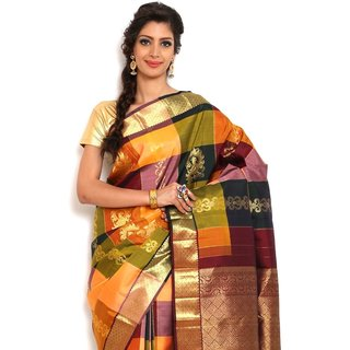 Sudarshan Silks Stunning Multi-Color Silk Kanchipuram Saree