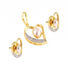 PERFECT JEWELS DESIGNER AD/CZ PEARL HEART SHAPED PENDENT FOR WOMEN