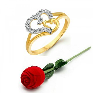 Vighnaharta Gold Plated Gold Couple Heart CZ Gold and Rhodium Plated Alloy Ring with Rose Ring Box for Women