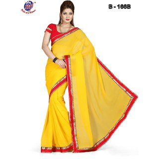 f62bf245bc861 INDIAN BOLLYWOOD DESIGNER FAUX CHIFFON YELLOW SAREE   BLOUSE DHUPIAN RED  166 B