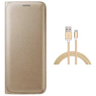 Premium Golden Leather Flip Cover and Golden Nylon Micro USB Cable for Samsung Galaxy J7