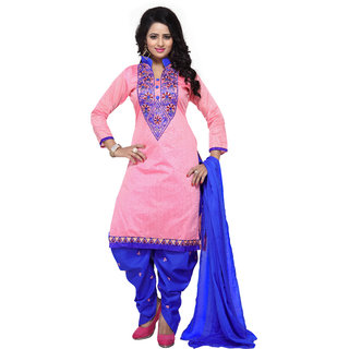 Mastani Pink Salwar Suit Material Embroidered Cotton Dress Material (Unstitched)