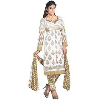 Mastani Gold Salwar Suit Material Printed Cotton Dress Material (Unstitched)