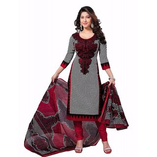 NEW MARUTI ENTERPRISE Grey Printed Cotton Salwar Suit Material (Unstitched)