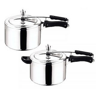 Fabiano (ISI) 2pc Aluminium Pressure cooker set - 3L  5L combo with Inner LID