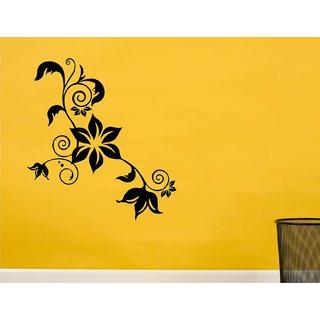 Wall Guru Vine With Flower Black Wall Sticker  Size(6459)cm Vinyl Black Wall Stickers