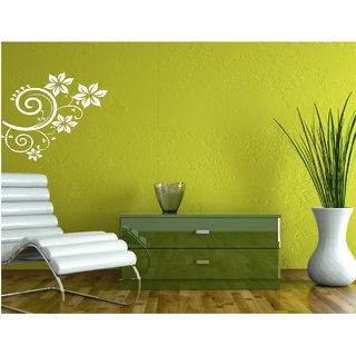 Wall Guru Vine With Flower White  Wall Sticker  Vinyl Wall Stickers