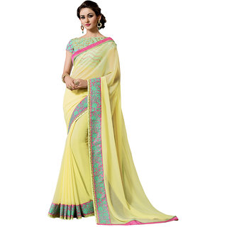 Swaron Yellow Georgette Embroidered Saree With Blouse