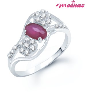 MEENAZ MODERN RHODIUM PLATED CZ STUTDED RUBY  RING FR129