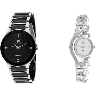 1M Black And White Quartz Couple Watch