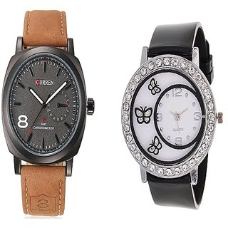 Curren Brown Black Dial and Round Dial Buterfly Black Women Watches Couple for Men and Women
