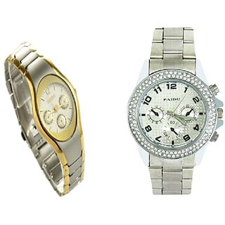 Paidu Silver  Men And Rosra Gold - Silver Women  Couple Watches for Men and Women