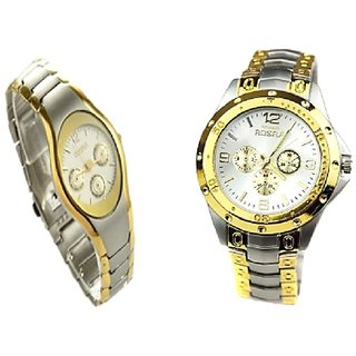 Rosra Silver-Gold Men And Rosra Gold - Silver Women  Couple Watches for Men and Women