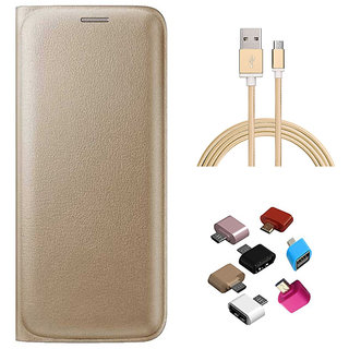 Premium Golden Leather Flip Cover Micro USB OTG Adaptor and Golden Nylon USB Cable for Vivo Y21L