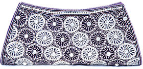 Abqa Crystal Studded Clutch With Intricate Bead Work.