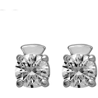 Shiyara Jewells 92.5 Sterling Silver Solitaire Bold Handsome Stud Earrings made with Swarowski Zirconia ER07007