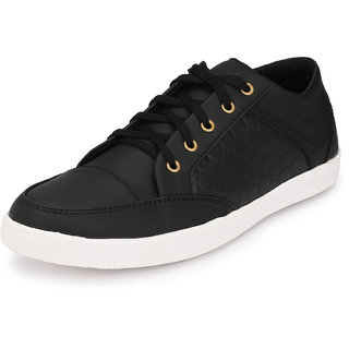 Knoos Men Black Lace-Up Casual Shoes