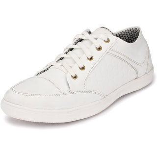 Knoos Men White Lace-Up Casual Shoes