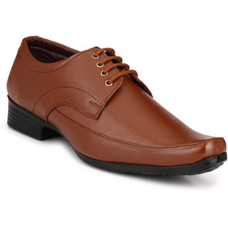 Knoos Men Tan Lace-Up Formal Shoes