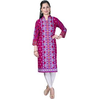 Pari Pink Printed Rayon Fabric 3/4 Sleeve Mandarin Collar Kurtis For Women