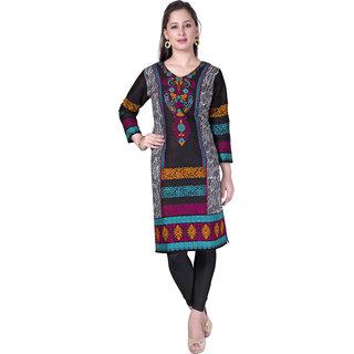 Pari Black Printed Rayon Fabric 3/4 Sleeve Round Neck Kurtis For Women