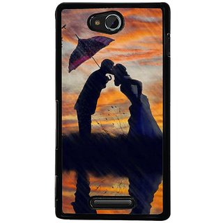 Fuson Designer Phone Back Case Cover Sony Xperia C ( Kiss Of Love In The Rain )