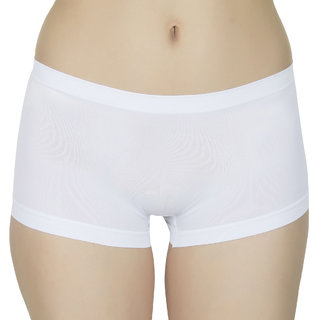 Muquam White Women's Cotton Solid Boxer Panty (Pack of 1)