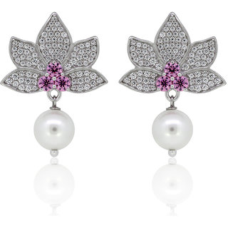 Joal Silver Plated Pink Silver Earings For Women