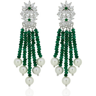 Joal Silver Plated Green Silver Earings For Women