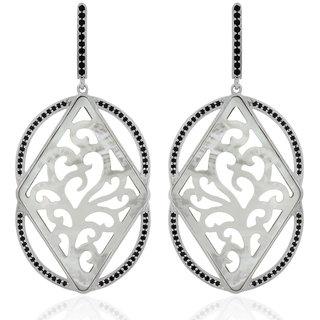 Joal Silver Plated Black Silver Earings For Women