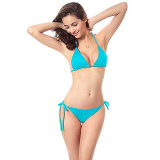 Muquam Blue Solid Polyester Triangle Cup Bikini