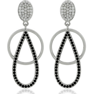 Joal Silver Plated Black Silver Earings For Women