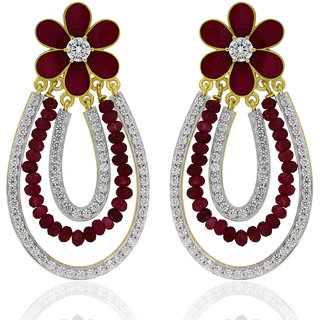 Joal Silver Plated Red Silver Earings For Women