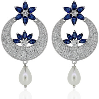 Joal Silver Plated Blue Silver Earings For Women