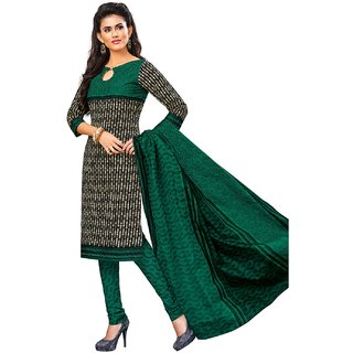Jevi Prints Black & Green Unstitched Synthetic Crepe Salwar Suit with Dupatta